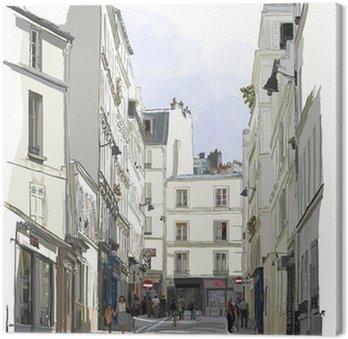 Canvas Straat in de buurt van Montmartre in Parijs