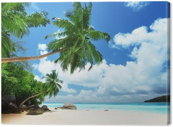 Canvas Strand op Mahe island in Seychellen