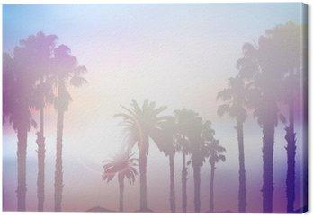 Canvas Summer palmboom landschap met retro-effect