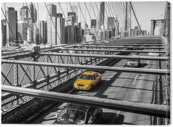 Canvas Taxi oversteken van de Brooklyn Bridge in New York