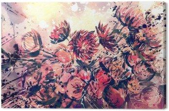 Canvas Tekening, waterverf boeket van Straw bloem