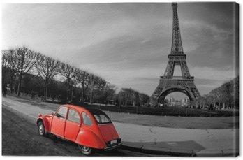Canvas Tour Eiffel et voiture rouge-Parijs