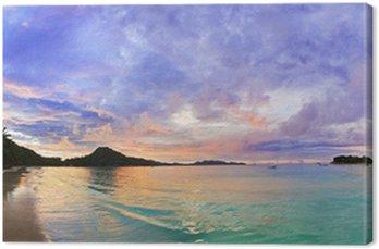 Canvas Tropisch strand Cote d'Or bij zonsondergang, Seychellen