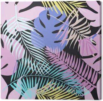Canvas Tropische exotische bloemen en planten met groene bladeren van de palm.
