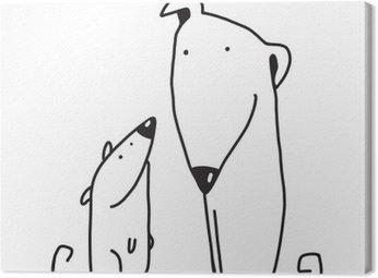 Canvas Twee cartoon bruine hond ouder en kind