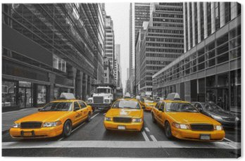 Canvas TYellow taxi's in New York City, Verenigde Staten.