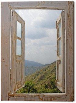 Canvas Uitzicht van een oude White Window