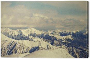 Canvas Uitzicht vanaf de skipistes