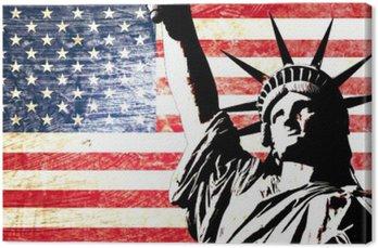 Canvas Usa vlag standbeeld van vrijheid