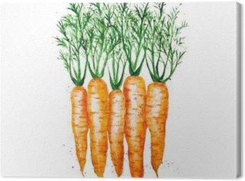 Canvas Vector aquarel wortelen, op een witte achtergrond