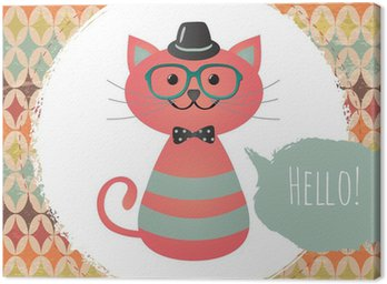 Canvas Vector Hipster Cat wenskaart ontwerp illustratie