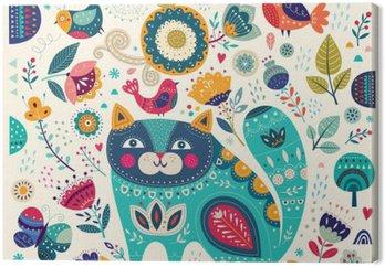 Canvas Vector kleurrijke illustratie met mooie kat, vlinders, vogels en bloemen