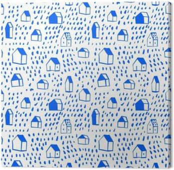 Canvas Vector naadloze patroon met huizen.