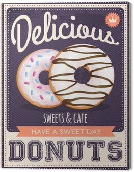 Canvas Vector vintage stijl donuts poster
