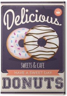 Canvas Vector vintage stijl donuts poster