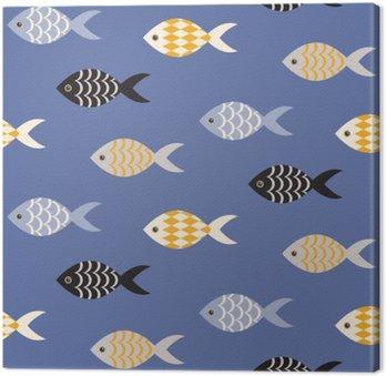 Canvas Vector zwarte en witte vis naadloos patroon. School van vissen in rijen op blauwe oceaan patroon. Zomer marine thema.