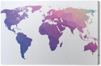 Canvas Veelhoekige wereldkaart