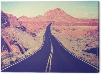 Canvas Vintage afgezwakt gebogen woestijnweg, reisconcept, USA