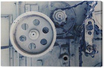 Canvas Vintage machine mechanisme bij fabriek