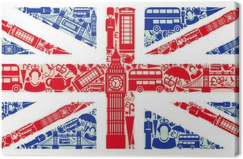 Canvas Vlag van Engeland van symbolen van het Verenigd Koninkrijk en Londen