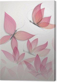 Canvas Vlinder als bloem / Surreal bloemen achtergrond