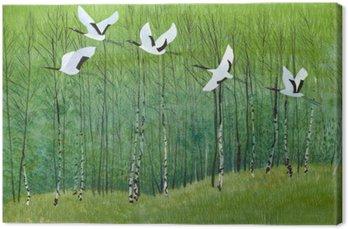 Canvas Vlucht van kranen