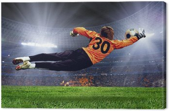 Canvas Voetbal goalman op het veld stadion