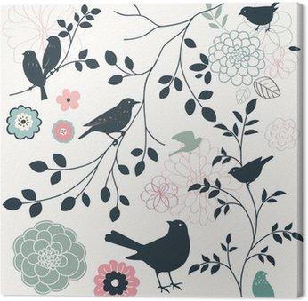 Canvas Vogel en bloem