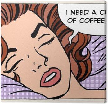 Canvas Vrouw droomt 's ochtends koffie beker
