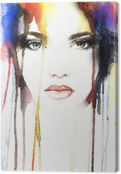 Canvas Vrouw portret .abstract aquarel