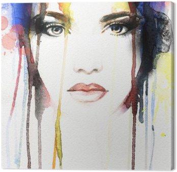 Canvas Vrouw portret .abstract aquarel