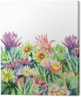 Canvas Watercolor bloeiende cactus achtergrond