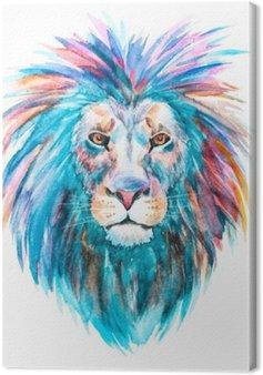 Canvas Watercolor vector leeuw