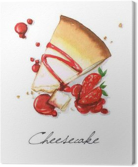 Canvas Watercolor Voedsel Schilderij - Cheesecake