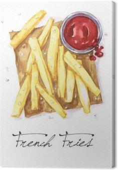 Canvas Watercolor Voedsel Schilderij - French Fries