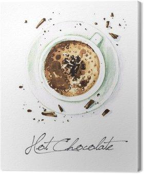 Canvas Watercolor Voedsel Schilderij - Hot Chocolate