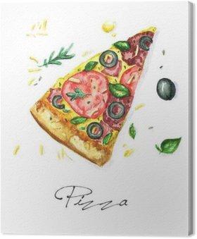 Canvas Watercolor Voedsel Schilderij - Pizza