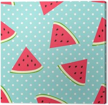 Canvas Watermeloen naadloze patroon met stippen