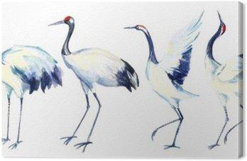 Canvas Waterverf het Aziatische kraanvogel set