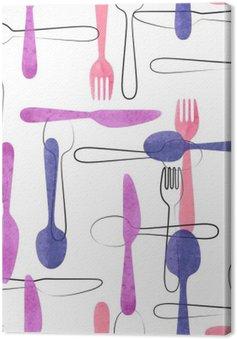 Canvas Waterverf het bestek naadloos patroon in roze en paarse kleuren. Vector achtergrond met lepels, vorken en messen.