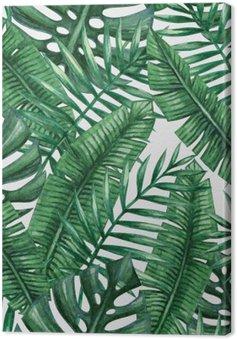 Canvas Waterverf het tropische palm verlaat naadloos patroon. Vector illustratie.