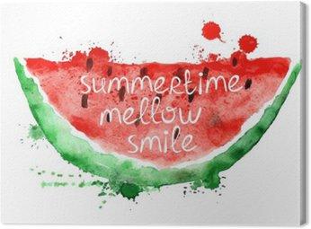 Canvas Waterverfillustratie met plak van watermeloen.