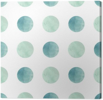 Canvas Waterverftextuur. Naadloos patroon. Watercolor kringen in pastel kleuren op een witte achtergrond. Pastelkleuren en romantische delicaat design. Patroon van de Stip. Fris en Mint Kleuren.