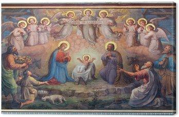 Canvas Wenen - fresco van Kerststal in de kerk Carmelites