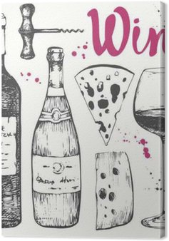 Canvas Wijn set. Wijnmaken producten in schets stijl.