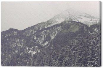 Canvas Wolken bewegen over verre bergtop