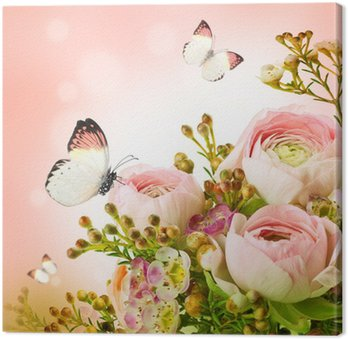 Canvas Zachte boeket van roze rozen en vlinder