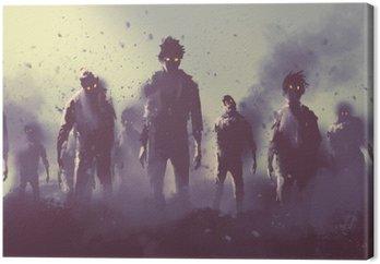 Canvas Zombie menigte lopen 's nachts, halloween concept, illustratie painting