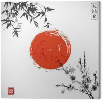 Canvas Zon, bamboe en sakura in bloei. Traditionele Japanse inkt schilderen sumi-e. Bevat hiëroglief - dubbel geluk.