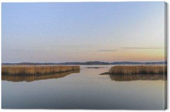 Canvas Zonsondergang en kalme zee